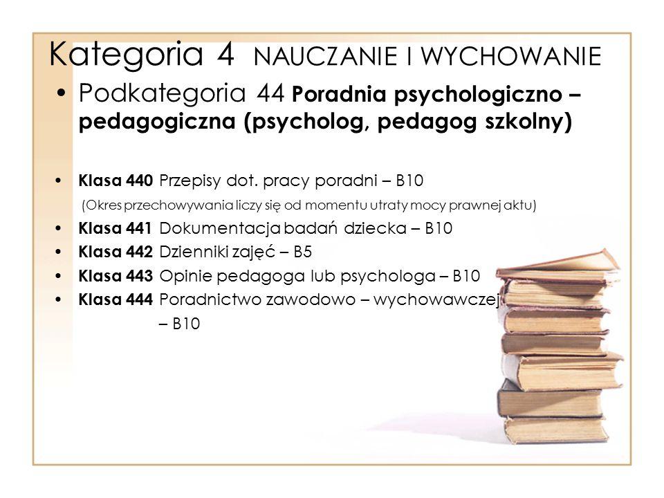Kategoria 4 NAUCZANIE I WYCHOWANIE Podkategoria 44 Poradnia psychologiczno – pedagogiczna (psycholog, pedagog szkolny) Klasa 440 Przepisy dot. pracy p
