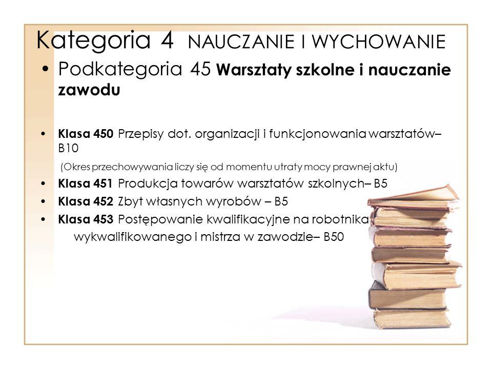 Kategoria 4 NAUCZANIE I WYCHOWANIE Podkategoria 45 Warsztaty szkolne i nauczanie zawodu Klasa 450 Przepisy dot. organizacji i funkcjonowania warsztató