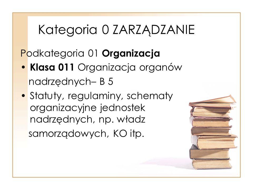 Kategoria 0 ZARZĄDZANIE Podkategoria 01 Organizacja Klasa 011 Organizacja organów nadrzędnych– B 5 Statuty, regulaminy, schematy organizacyjne jednost