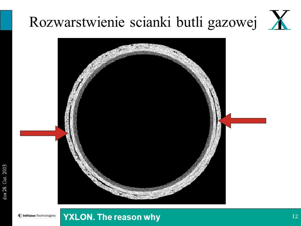 BI 29.08.03 dos 28. Oct. 2003 YXLON. The reason why 12 Rozwarstwienie scianki butli gazowej
