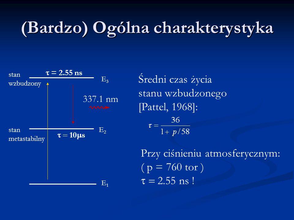 (Bardzo) Ogólna charakterystyka Średni czas życia stanu wzbudzonego [Pattel, 1968]: Przy ciśnieniu atmosferycznym: ( p = 760 tor )  2.55 ns .