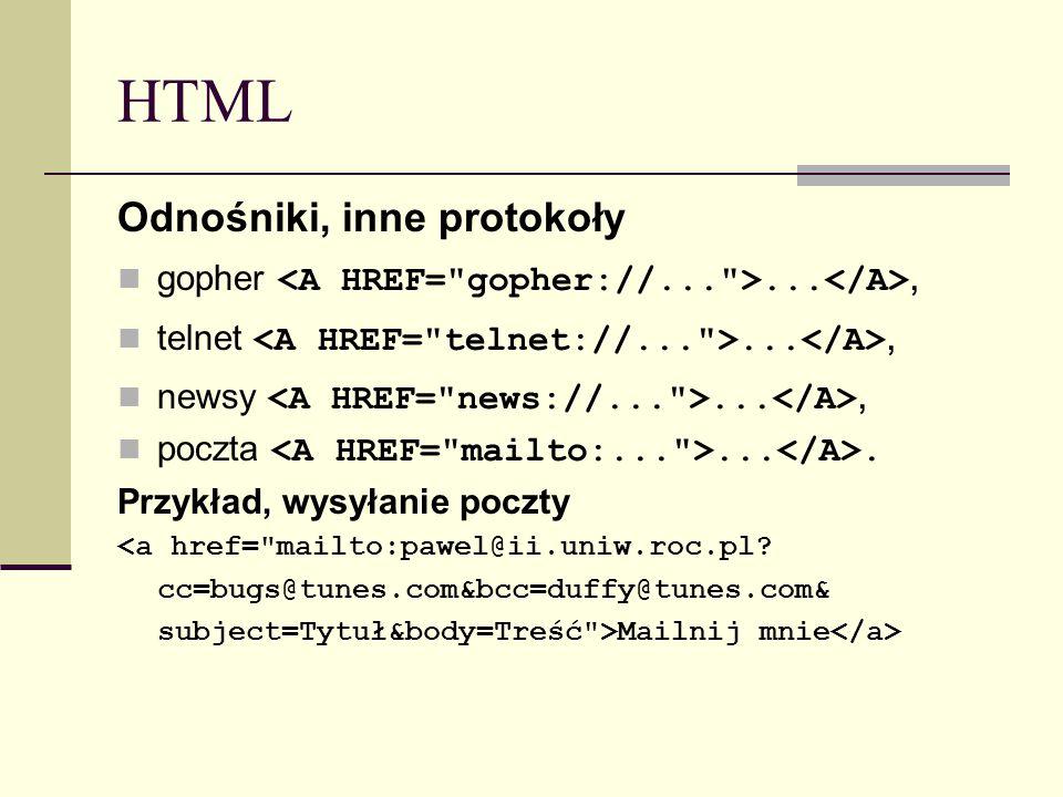 HTML Odnośniki, inne protokoły gopher..., telnet..., newsy..., poczta.... Przykład, wysyłanie poczty <a href=