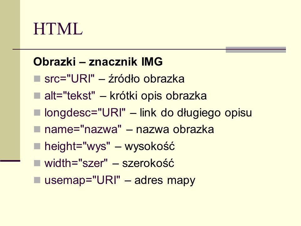 HTML Obrazki – znacznik IMG src= URI – źródło obrazka alt= tekst – krótki opis obrazka longdesc= URI – link do długiego opisu name= nazwa – nazwa obrazka height= wys – wysokość width= szer – szerokość usemap= URI – adres mapy