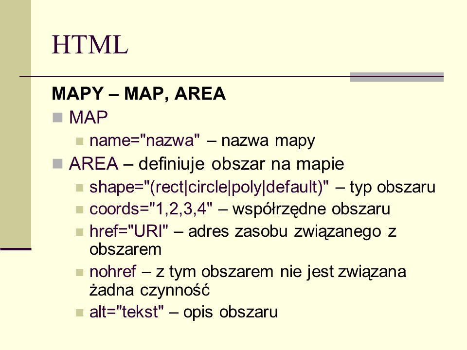 HTML MAPY – MAP, AREA MAP name= nazwa – nazwa mapy AREA – definiuje obszar na mapie shape= (rect|circle|poly|default) – typ obszaru coords= 1,2,3,4 – współrzędne obszaru href= URI – adres zasobu związanego z obszarem nohref – z tym obszarem nie jest związana żadna czynność alt= tekst – opis obszaru