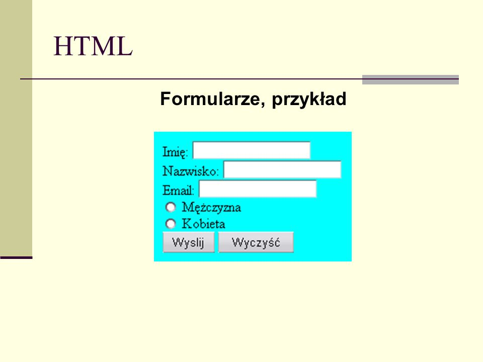 HTML Formularze, przykład