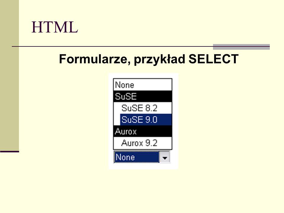 HTML Formularze, przykład SELECT