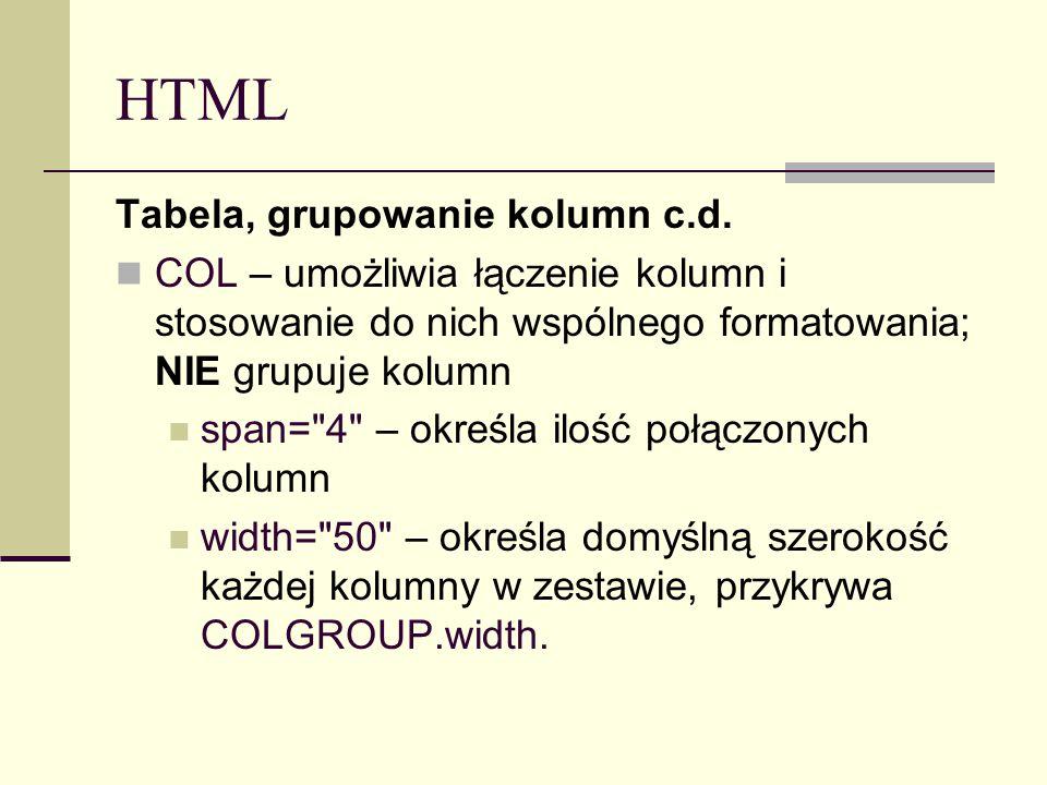 HTML Tabela, grupowanie kolumn c.d. COL – umożliwia łączenie kolumn i stosowanie do nich wspólnego formatowania; NIE grupuje kolumn span=