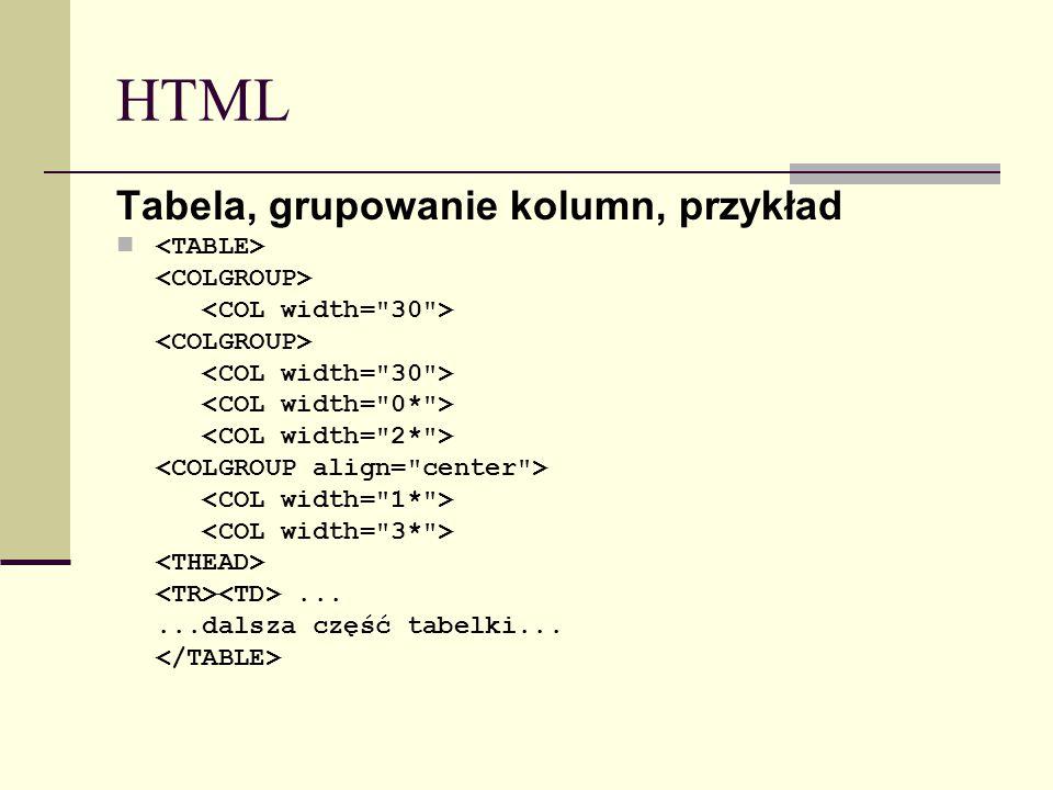 HTML Tabela, grupowanie kolumn, przykład......dalsza część tabelki...