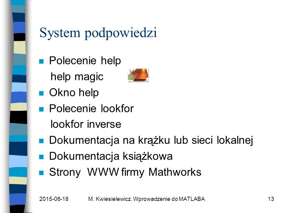 2015-06-18M. Kwiesielewicz. Wprowadzenie do MATLABA13 System podpowiedzi n Polecenie help help magic n Okno help n Polecenie lookfor lookfor inverse n