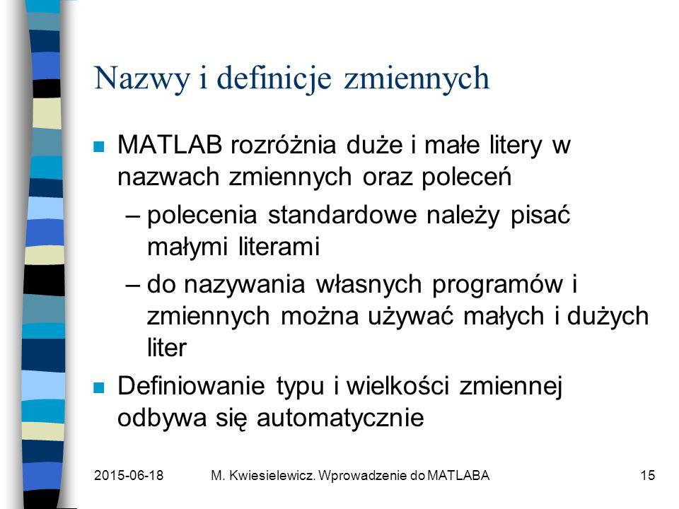 2015-06-18M. Kwiesielewicz. Wprowadzenie do MATLABA15 Nazwy i definicje zmiennych n MATLAB rozróżnia duże i małe litery w nazwach zmiennych oraz polec