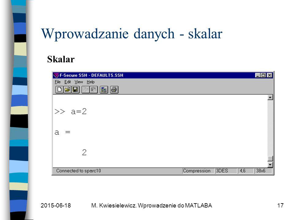 2015-06-18M. Kwiesielewicz. Wprowadzenie do MATLABA17 Wprowadzanie danych - skalar Skalar