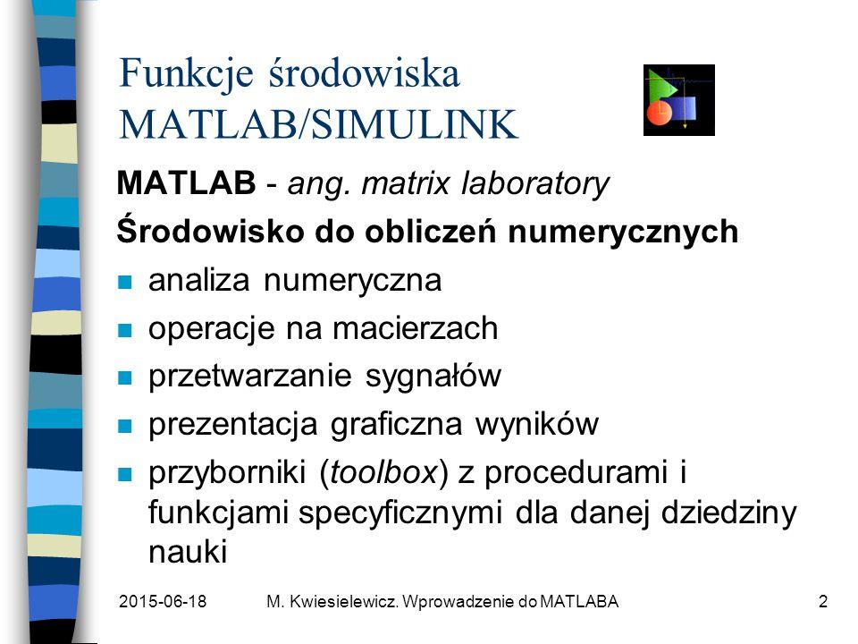 2015-06-18M. Kwiesielewicz. Wprowadzenie do MATLABA2 Funkcje środowiska MATLAB/SIMULINK MATLAB - ang. matrix laboratory Środowisko do obliczeń numeryc