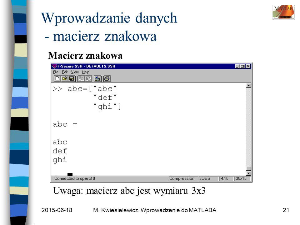 2015-06-18M. Kwiesielewicz. Wprowadzenie do MATLABA21 Wprowadzanie danych - macierz znakowa Macierz znakowa Uwaga: macierz abc jest wymiaru 3x3
