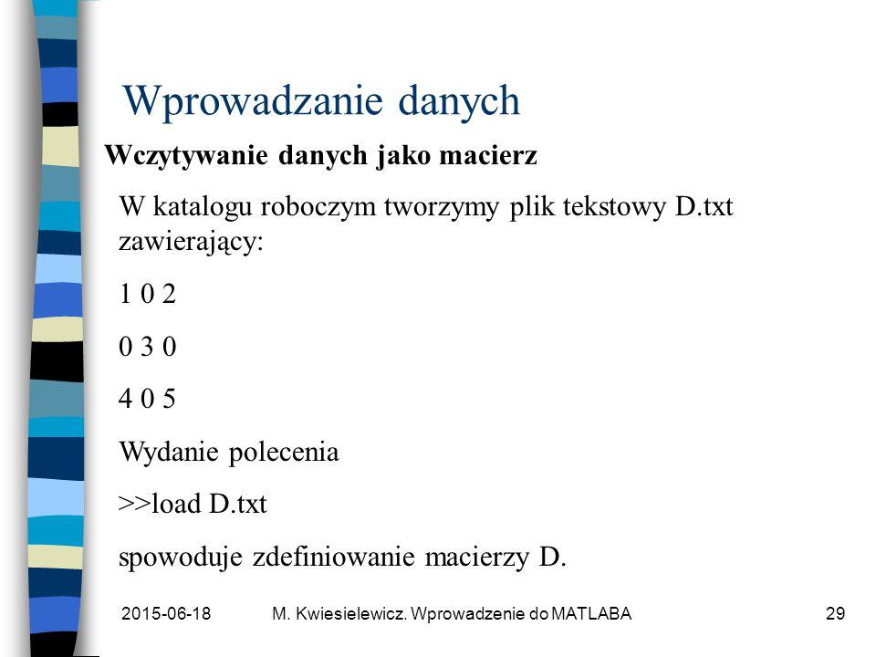 2015-06-18M. Kwiesielewicz. Wprowadzenie do MATLABA29 Wprowadzanie danych Wczytywanie danych jako macierz W katalogu roboczym tworzymy plik tekstowy D