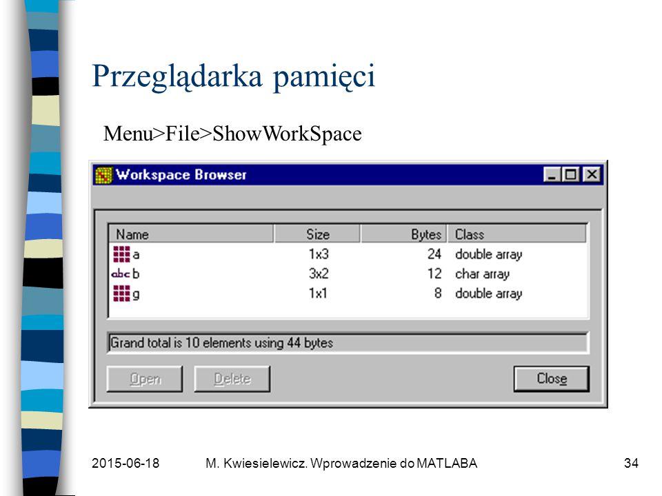 2015-06-18M. Kwiesielewicz. Wprowadzenie do MATLABA34 Przeglądarka pamięci Menu>File>ShowWorkSpace