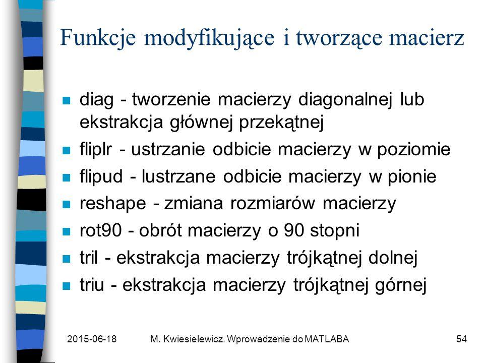 2015-06-18M. Kwiesielewicz. Wprowadzenie do MATLABA54 Funkcje modyfikujące i tworzące macierz n diag - tworzenie macierzy diagonalnej lub ekstrakcja g