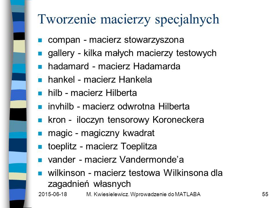 2015-06-18M. Kwiesielewicz. Wprowadzenie do MATLABA55 Tworzenie macierzy specjalnych n compan - macierz stowarzyszona n gallery - kilka małych macierz
