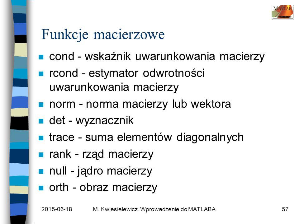 2015-06-18M. Kwiesielewicz. Wprowadzenie do MATLABA57 Funkcje macierzowe n cond - wskaźnik uwarunkowania macierzy n rcond - estymator odwrotności uwar