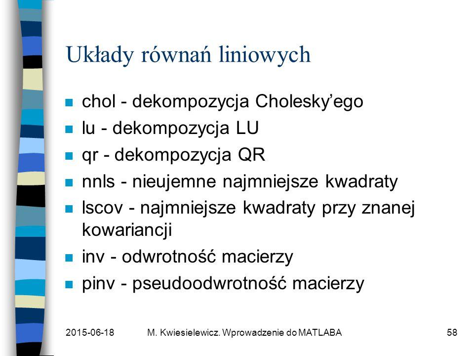 2015-06-18M. Kwiesielewicz. Wprowadzenie do MATLABA58 Układy równań liniowych n chol - dekompozycja Cholesky'ego n lu - dekompozycja LU n qr - dekompo