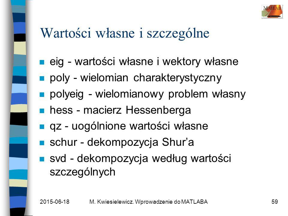 2015-06-18M. Kwiesielewicz. Wprowadzenie do MATLABA59 Wartości własne i szczególne n eig - wartości własne i wektory własne n poly - wielomian charakt