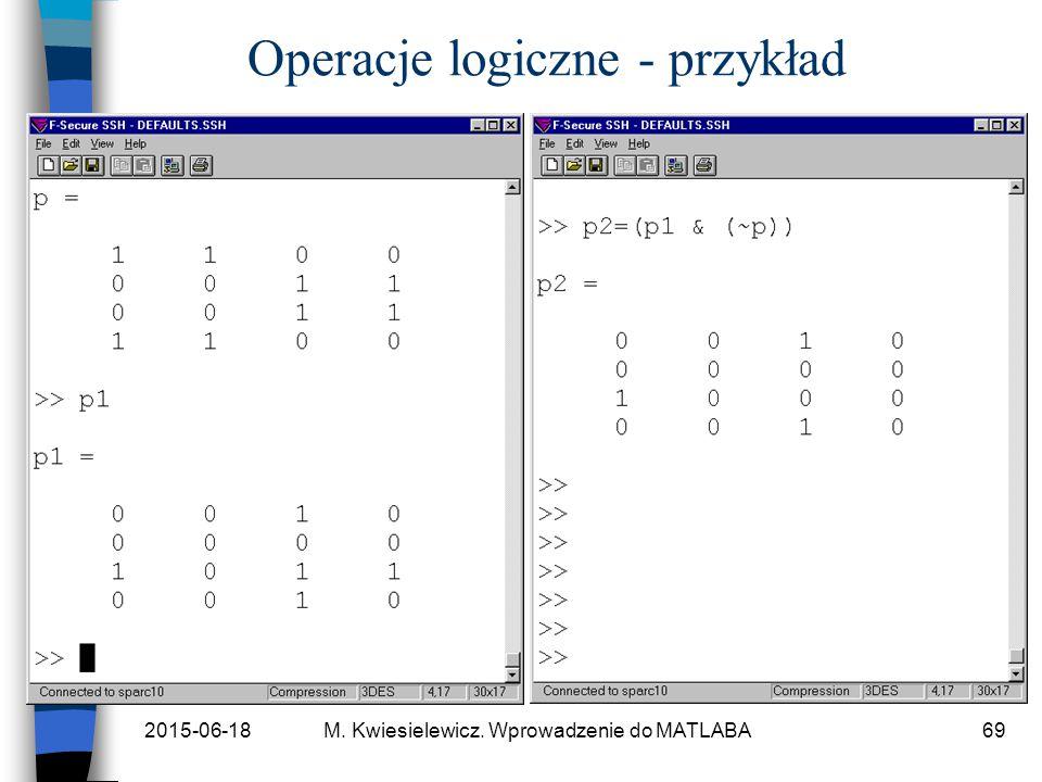 2015-06-18M. Kwiesielewicz. Wprowadzenie do MATLABA69 Operacje logiczne - przykład