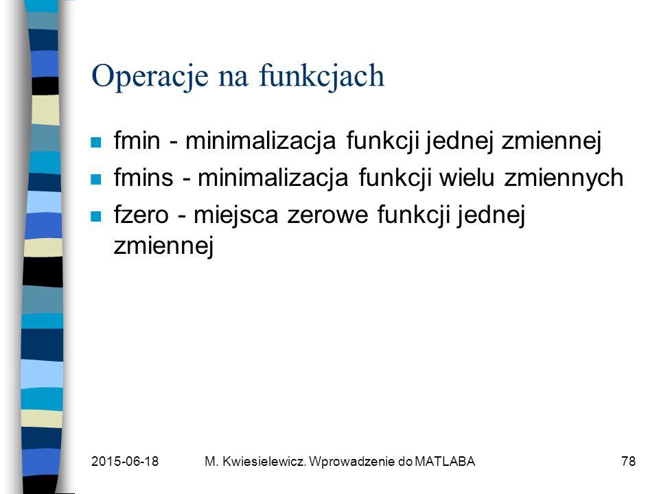 2015-06-18M. Kwiesielewicz. Wprowadzenie do MATLABA78 Operacje na funkcjach n fmin - minimalizacja funkcji jednej zmiennej n fmins - minimalizacja fun
