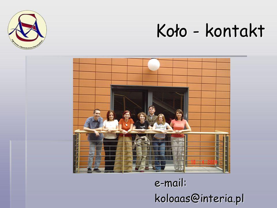 Koło - kontakt e-mail:koloaas@interia.pl