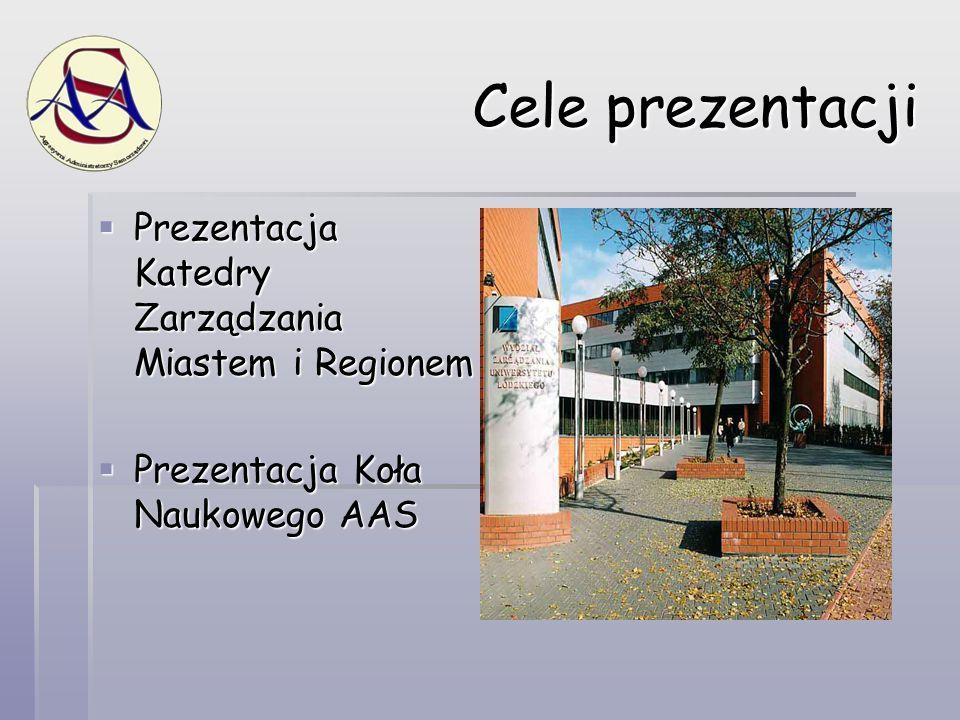 Cele prezentacji  Prezentacja Katedry Zarządzania Miastem i Regionem  Prezentacja Koła Naukowego AAS