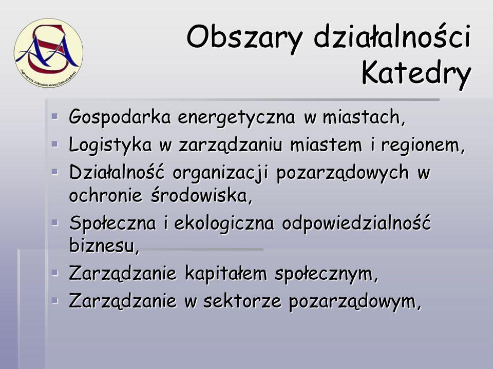 Obszary działalności Katedry  Gospodarka energetyczna w miastach,  Logistyka w zarządzaniu miastem i regionem,  Działalność organizacji pozarządowy