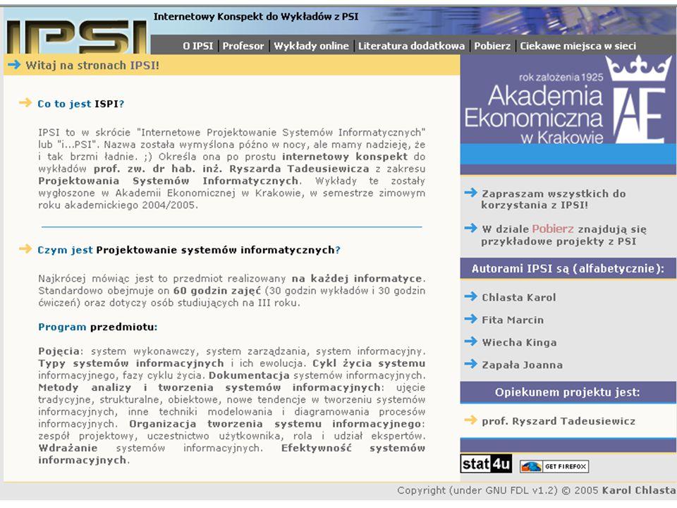 """Projektowanie systemów informacyjnych Uwaga: Uwaga: do wykładu jest """"bryk w Internecie: http://regent2.uci.agh.edu.pl/~dunin/ISPI/ Preferowany kontakt: rtad@agh.edu.pl Konsultacje: paw."""