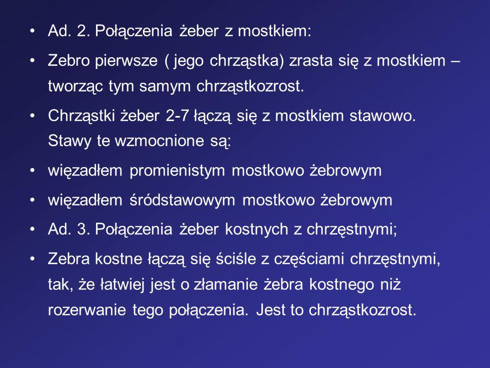 Ad. 2. Połączenia żeber z mostkiem: Zebro pierwsze ( jego chrząstka) zrasta się z mostkiem – tworząc tym samym chrząstkozrost. Chrząstki żeber 2-7 łąc