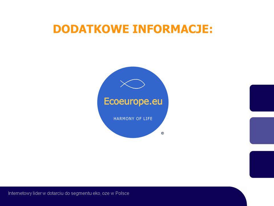 Internetowy lider w dotarciu do segmentu eko, oze w Polsce DODATKOWE INFORMACJE: