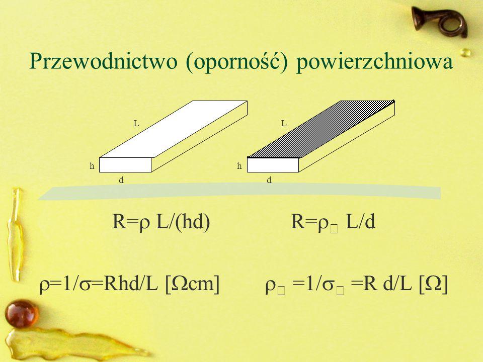 Przewodnictwo (oporność) powierzchniowa R=  L/(hd) R=   L/d  =1/  =Rhd/L [  cm]   =1/   =R d/L [  ] LL dd hh
