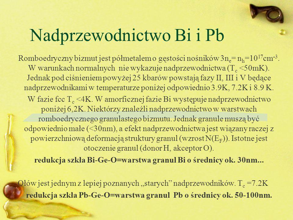 Nadprzewodnictwo Bi i Pb Romboedryczny bizmut jest półmetalem o gęstości nośników 3n e = n h =10 17 cm -3. W warunkach normalnych nie wykazuje nadprze