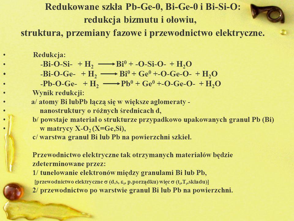 Redukowane szkła Pb-Ge-0, Bi-Ge-0 i Bi-Si-O: redukcja bizmutu i ołowiu, struktura, przemiany fazowe i przewodnictwo elektryczne. Redukcja: - Bi-O-Si-