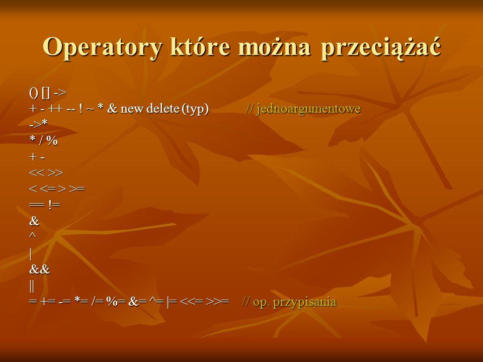 Operatory które można przeciążać () [] -> + - ++ -- .