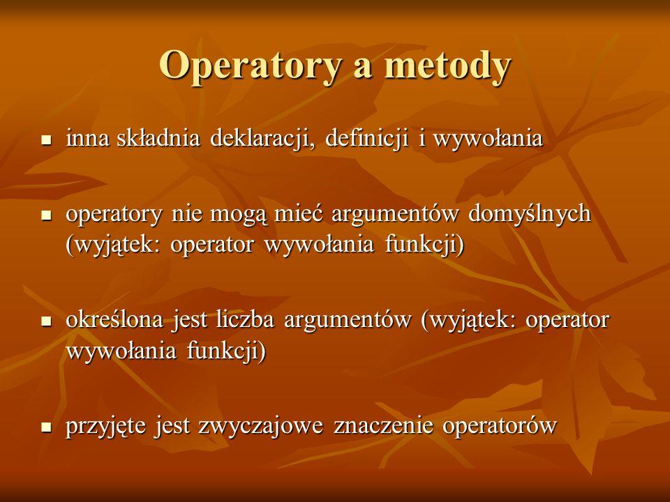 Operatory a metody inna składnia deklaracji, definicji i wywołania inna składnia deklaracji, definicji i wywołania operatory nie mogą mieć argumentów domyślnych (wyjątek: operator wywołania funkcji) operatory nie mogą mieć argumentów domyślnych (wyjątek: operator wywołania funkcji) określona jest liczba argumentów (wyjątek: operator wywołania funkcji) określona jest liczba argumentów (wyjątek: operator wywołania funkcji) przyjęte jest zwyczajowe znaczenie operatorów przyjęte jest zwyczajowe znaczenie operatorów