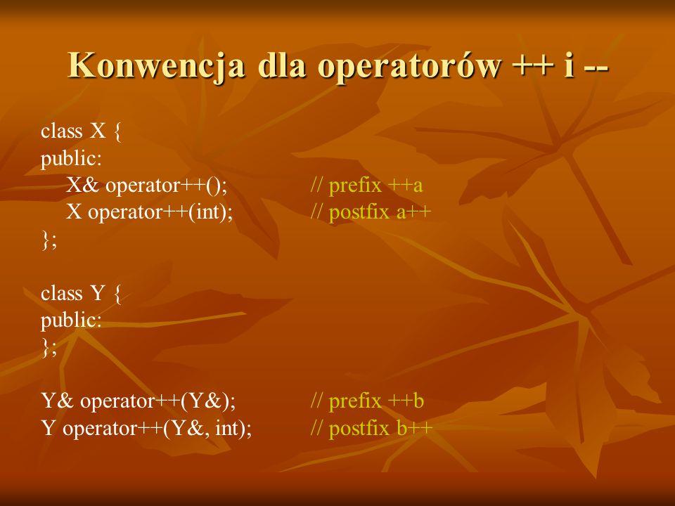 Konwencja dla operatorów ++ i -- class X { public: X& operator++(); // prefix ++a X operator++(int); // postfix a++ }; class Y { public: }; Y& operator++(Y&); // prefix ++b Y operator++(Y&, int); // postfix b++
