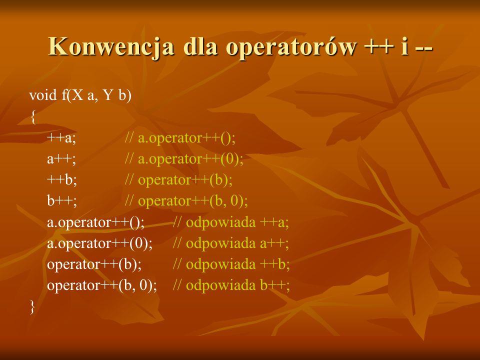 Konwencja dla operatorów ++ i -- void f(X a, Y b) { ++a; // a.operator++(); a++; // a.operator++(0); ++b; // operator++(b); b++; // operator++(b, 0); a.operator++(); // odpowiada ++a; a.operator++(0); // odpowiada a++; operator++(b); // odpowiada ++b; operator++(b, 0); // odpowiada b++; }