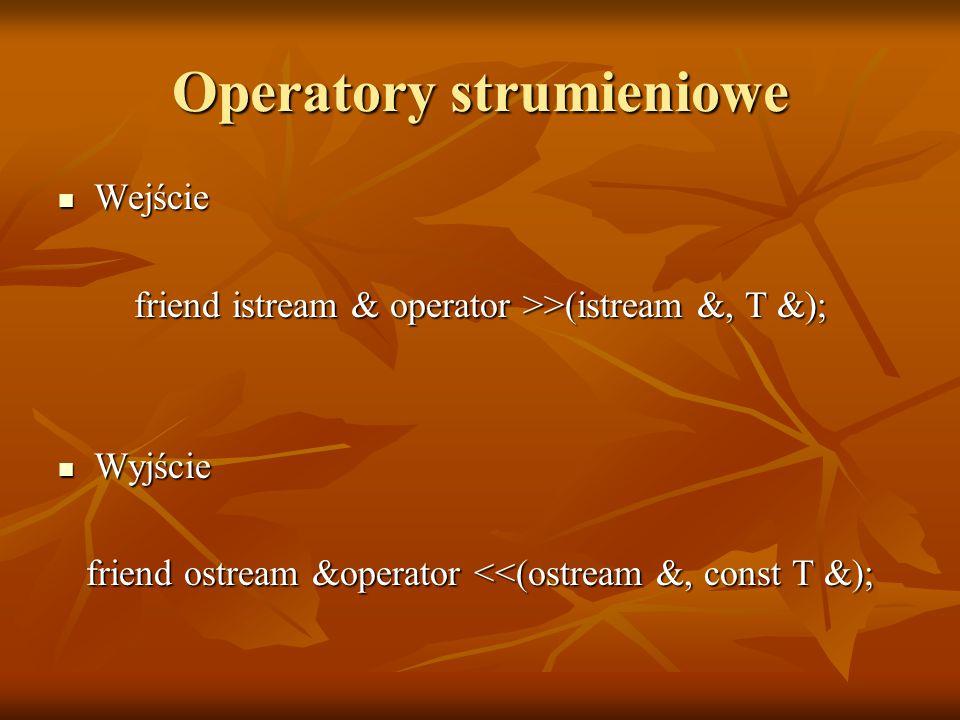 Operatory strumieniowe Wejście Wejście friend istream & operator >>(istream &, T &); Wyjście Wyjście friend ostream &operator <<(ostream &, const T &);