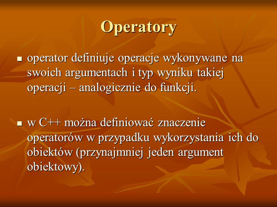 Operatory operator definiuje operacje wykonywane na swoich argumentach i typ wyniku takiej operacji – analogicznie do funkcji.