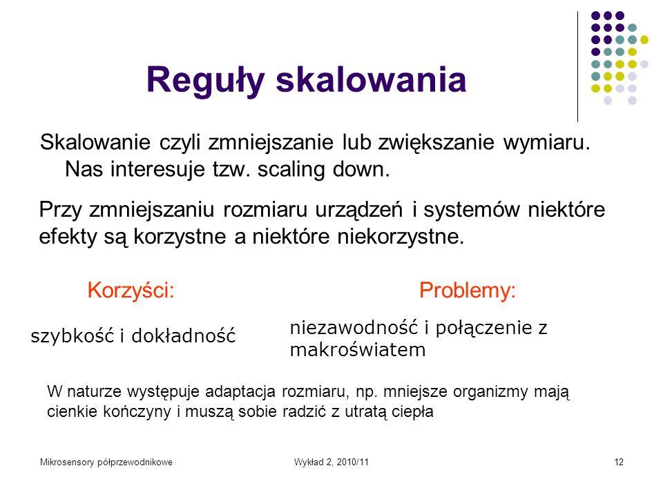 Mikrosensory półprzewodnikoweWykład 2, 2010/1112 Reguły skalowania Skalowanie czyli zmniejszanie lub zwiększanie wymiaru. Nas interesuje tzw. scaling