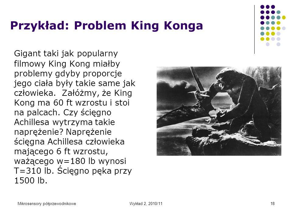 Mikrosensory półprzewodnikoweWykład 2, 2010/1118 Przykład: Problem King Konga Gigant taki jak popularny filmowy King Kong miałby problemy gdyby propor