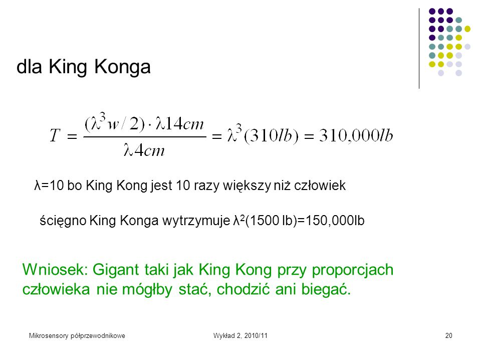Mikrosensory półprzewodnikoweWykład 2, 2010/1120 dla King Konga λ=10 bo King Kong jest 10 razy większy niż człowiek ścięgno King Konga wytrzymuje λ 2
