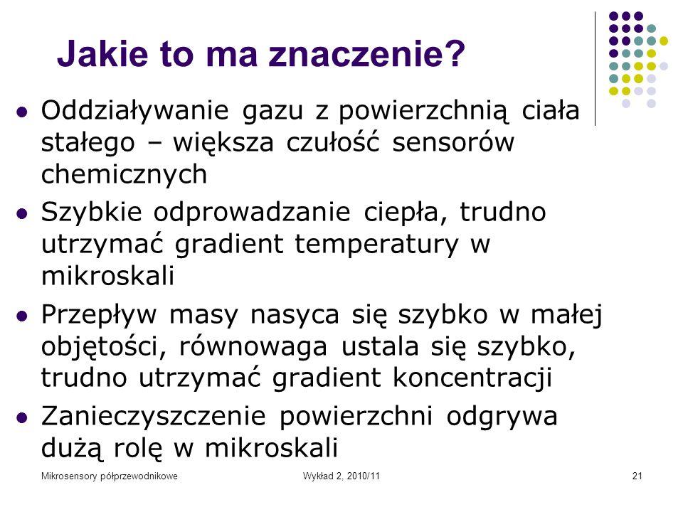 Mikrosensory półprzewodnikoweWykład 2, 2010/1121 Jakie to ma znaczenie? Oddziaływanie gazu z powierzchnią ciała stałego – większa czułość sensorów che