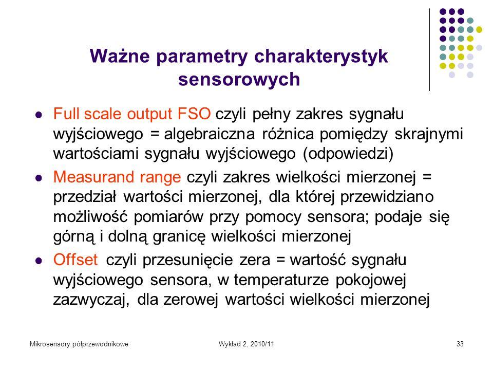 Mikrosensory półprzewodnikoweWykład 2, 2010/1133 Ważne parametry charakterystyk sensorowych Full scale output FSO czyli pełny zakres sygnału wyjściowe