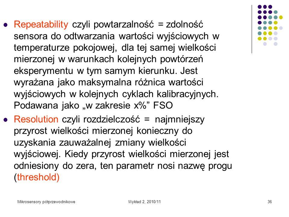 Mikrosensory półprzewodnikoweWykład 2, 2010/1136 Repeatability czyli powtarzalność = zdolność sensora do odtwarzania wartości wyjściowych w temperatur