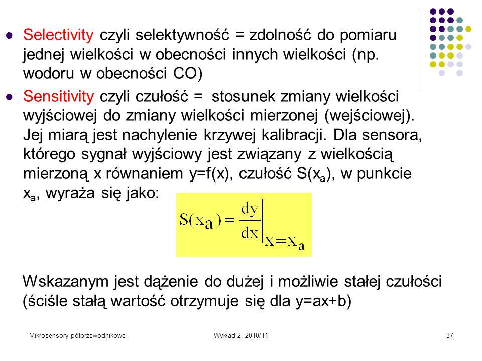 Mikrosensory półprzewodnikoweWykład 2, 2010/1137 Selectivity czyli selektywność = zdolność do pomiaru jednej wielkości w obecności innych wielkości (n