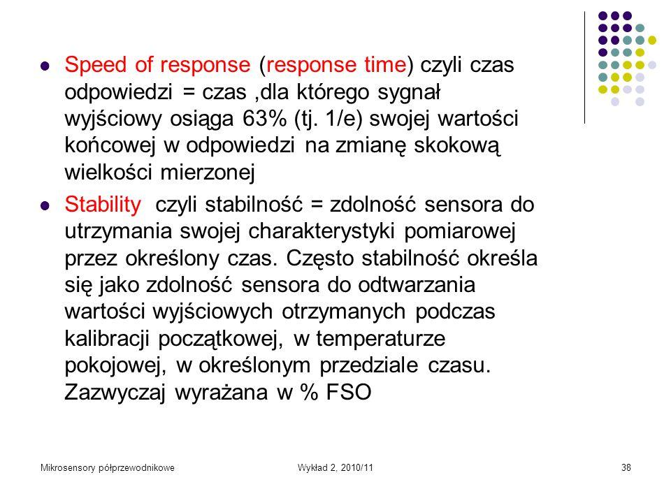 Mikrosensory półprzewodnikoweWykład 2, 2010/1138 Speed of response (response time) czyli czas odpowiedzi = czas,dla którego sygnał wyjściowy osiąga 63