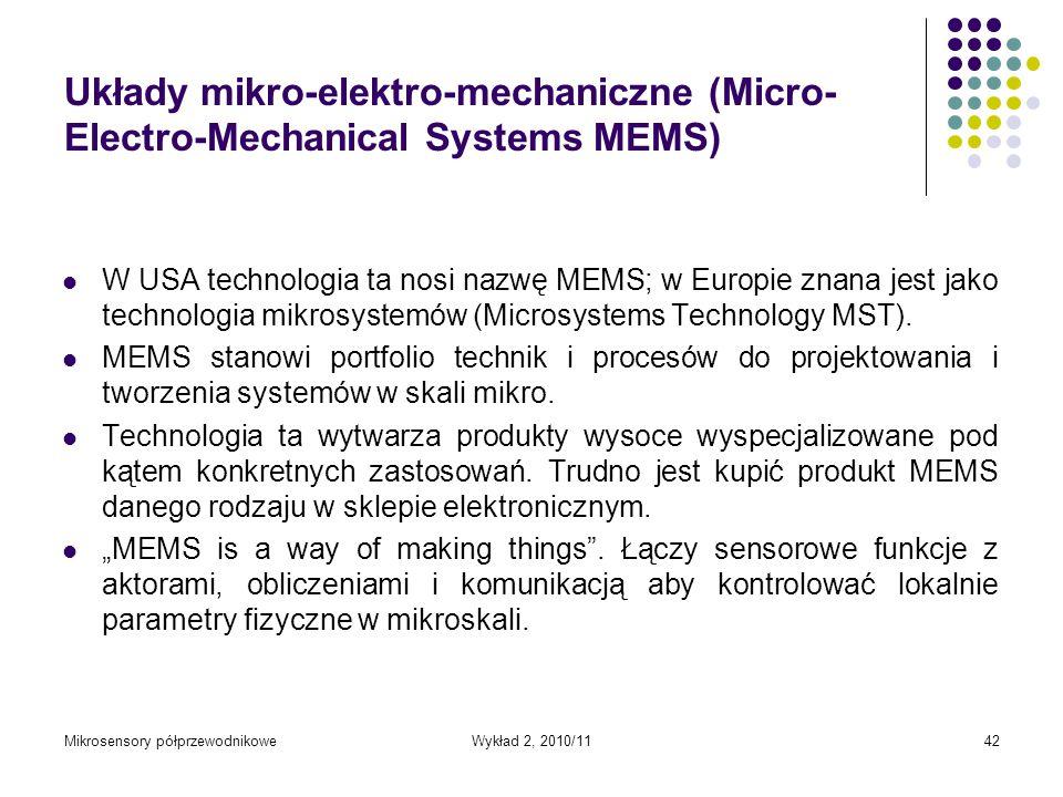 Mikrosensory półprzewodnikoweWykład 2, 2010/1142 Układy mikro-elektro-mechaniczne (Micro- Electro-Mechanical Systems MEMS) W USA technologia ta nosi n